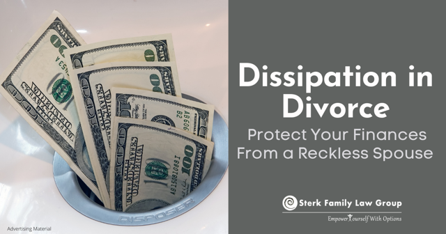 dissipation in divorce, dollar bills
